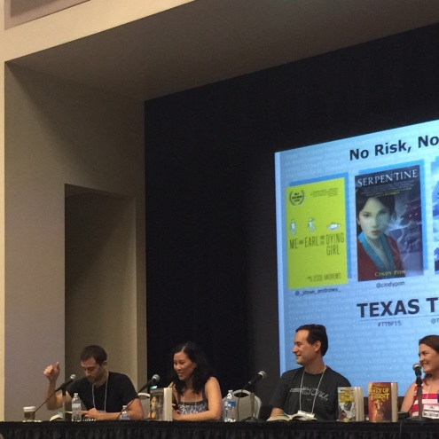 No Risk, No Reward Panel with authors Jesse Andrews, Cindy Pon, David Leviathan, and Carrie Ryan.